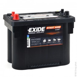 Batterie de démarrage technologie AGM Start and Stop pour bateau Start AGM Exide EM900 12V 42Ah